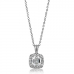 BERRICLE Sterling Silver 925 Asscher Cubic Zirconia Solitaire Pendant Necklace