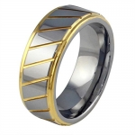 AmDxd Jewelry Tungsten Stainless Steel Men's Fashion Ring Wedding Bands Stripes Patterned Golden US Size 9