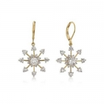 Bling Jewelry CZ Snowflake Gold Plated Leverback Earrings