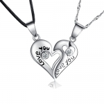 925 Sterling Silver Couple Engraved Love You Pendants Necklaces Jewelry Sets