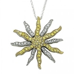 Sterling Silver 2-Tone Sunburst Necklace w/ Crystal & Topaz Cubic Zirconia Stones on 18 Chain
