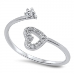 925 Sterling Silver Ring - Heart with Clear Cubic Zirconia CZ Stones