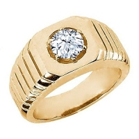 0.60 Ct Round White VS Topaz 925 Yellow Gold Plated Silver Men's Solitaire Ring
