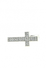 DIVA & DUCHESS RHINESTONED CROSS RING (Clear/Silver)