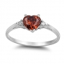 Women's Teens Heart Ruby CZ Promise Engagement Wedding Ring