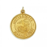 14k Gold Circular United States Marines Corps Medal. Gift Boxed.