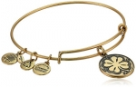 Alex and Ani Bangle Bar Four Leaf Clover Rafaelian Gold Finish Expandable Bracelet