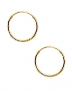 Continuous Endless Round Circle 14k Yellow Gold Hoop Earrings 14mm