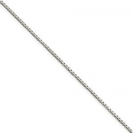0.7mm Solid 14K White Gold High Polish Classic Box Link Chain Necklace - 16 inches