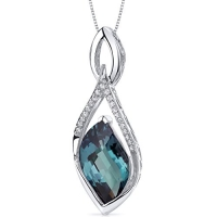 Luminous 13.00 carats Leaf Cut Sterling Silver Rhodium Finish Simulated Alexandrite Pendant