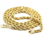 Mens 14K Yellow Gold Filled 5mm Rope Chain Necklace