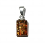 Honey Amber Sterling Silver Small Rectangular Pendant