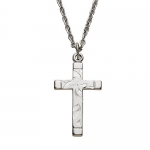 Sterling Silver 3/4 Engraved Women Cross Necklace with Polished Ends on 18' Chain