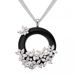 MARENJA Crystal-Women's White Gold Plated White Austrian Crystal Circle Flower Pendant Long Necklace 31.5in+2in/80+5cm Fashion Jewelry for Women