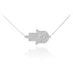 14k White Gold Diamond Jewish Star of David Sideways Hamsa Protection Necklace