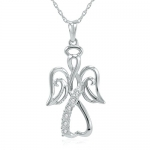 Winged Angel Open Heart Diamond Pendant-Necklace in Sterling Silver 18 Chain