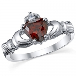 Sterling Silver 925 Irish Claddagh Friendship & Love Simulated Garnet Red Color Heart Cubic Zirconia Ring 5