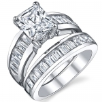 Sterling Silver 3 Carat Radiant Cut Cubic Zirconia Engagement Ring Wedding Bridal Set Rings With CZ 6