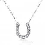 Sterling Silver and Diamond Horseshoe Necklace (1/8cttw. 16 inches)