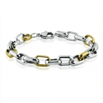 Ladies Stainless Steel Two-Tone Fancy Link Stainless Steel Bracelet (7 1/2 inches)