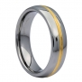 6MM Gold Plated Center Groove Ring Tungsten Carbide High Polished Band Size 6