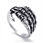 KONOV Mens Biker Tribe Gothic Stainless Steel Skull Skeleton Bone Hand Ring, Silver, Size 8