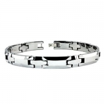 Tungsten & Ceramic Link Bracelet, All Silver, 8.5 Inches