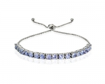 Sterling Silver 1.60ct Tanzanite Adjustable Bracelet
