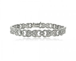 1ct TDW Diamond Intertwining Heart Infinity Tennis Bracelet