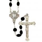 5mm Black Coco Rosary Necklace with Fine Pewter Crucifix Pendant and Center