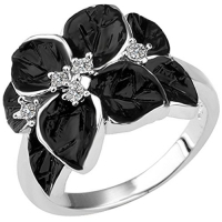 BOHG Jewelry Womens 18K White Gold Plated Fashion Plaza Base Silver Black Flower Leaf Ring Wedding Band Size 8