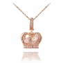 TIDOO Jewelry Womens Queen Crown Pendant Necklace 3 Lays Rose Gold/Platinum Plated With Austrain Crystals Best Gift For Girl Friend Party Valentine's Mothers Day And Christmas