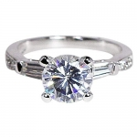 Solitaire Round Cut CZ Engagement Ring In Sterling Silver By GemGem Jewelry-Size 8