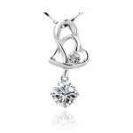 925 Sterling Silver Necklace, Women Pendant with 2 Hearts Cubic Zirconia Stone, Free 18 Inch Chain