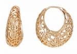 18k Rose Gold Plated Ornate Heart Filigree Round Hoop Earrings