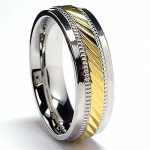 7MM Men's Goldtone Plated Stainless Steel Ring Size 8
