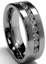 8 MM Men's Titanium ring wedding band with 9 large Channel Set CZ size 7.5