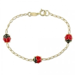 14K Yellow Gold Ladybug Charms Baby Bracelet