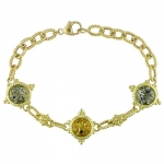 18k Gold Green Amethyst and Citrine Bracelet