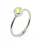 5mm Swarovski Yellow Cz Bezel Set Stackable Band Ring, Size 7
