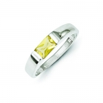 Sterling Silver Yellow Cz Ring, Size 6