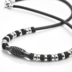 Mens Stainless Steel Rubber Surfer Beads Necklace Chain 21 (Silver Black)