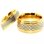Matching 6mm & 9mm Golden Colored Tungsten Celtic Knot Wedding Bands (See listing for sizes)