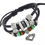 Unique Charm Owl Pendant Two Row Leather Adjustable Wrap Bracelet