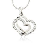 Crystal Double Heart Charm Pendant Necklace Fashion Jewelry