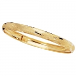 Solid 10k 8 6mm Yellow Gold Bangle Bracelet - JewelryWeb