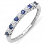 0.45 Carat (ctw) 10K White Gold Round White Diamond & Blue Sapphire Anniversary Stackable Wedding Band