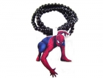 Hip-hop 1p Spiderman Batman Superman Pendants Wood Rosary Beads Chains Necklaces Jewelry