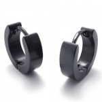 KONOV Jewelry Plain Black Stainless Steel Mens Huggie Hinged Hoop Earrings, 2pcs, Black
