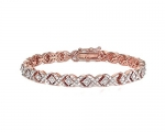 1ct TDW Diamond Miracle Set X Tennis Bracelet - Rose Gold